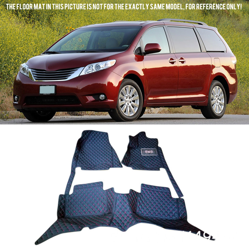 Leather Car Styling Front & Rear Car Floor Mats For Toyota Sienna XL30 2011-2016 (the 2rd rows have 3 seats) customs 5 seats 1 set car floor mat leather waterproof front