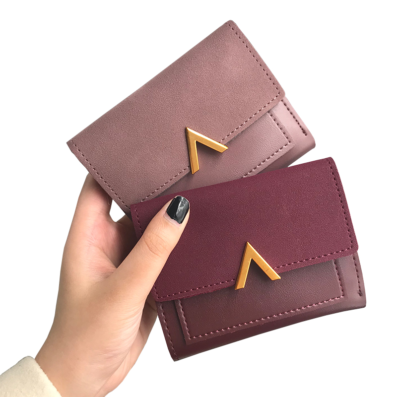 Matte Leather Small Women Wallet Luxury Brand Famous Mini Womens Wallets And Purses Short Female Coin Purse Credit Card Holder 2