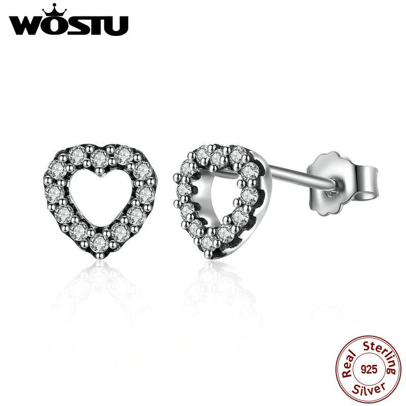100% Real 925 Plata Esterlina Be My Valentine Aretes Corazón de la Mujer Auténti