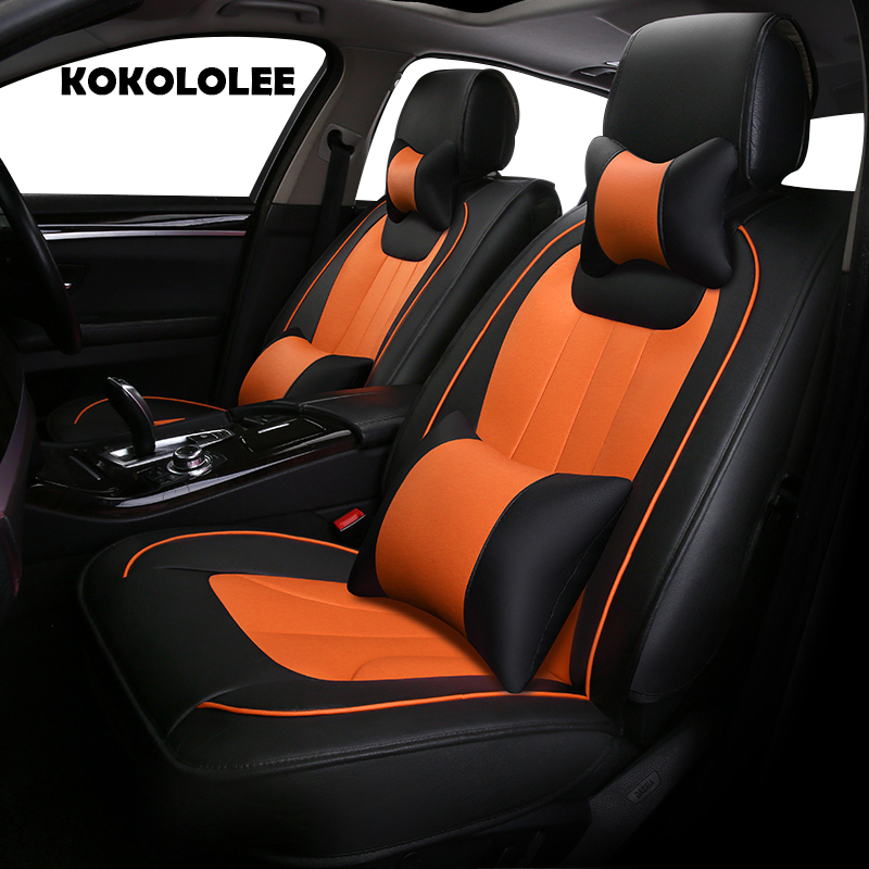 KOKOLOLEE pu leather car seat cover for KIA All Models K2/3/4/5 Kia Cerato Sportage Optima Maxima carnival rio ceed auto styling new styling leather car seat cover car cushion complete set for kia k4 k5 kia rio ceed cerato sportage optima maxima four season