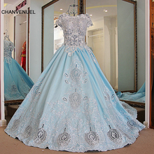 LS68721 Lovely abiye gece elbisesi beading crystals short sleeves corset back ball gown prom dress 2016 100% real photos