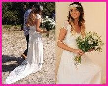 2014 Free Shipping Summer A Line Lace Chiffon Beach Bridal Gowns Destination Wedding Dress W2981