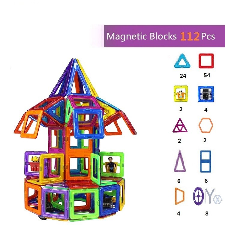 112pcs Hot Sale High Quality 3D DIY Magnetic Blocks Educational Toys for Kids Mag Magnetic Bricks Magnetic Building Block Set 32pcs magnetic tiles building mini magnetic blocks solid 3d magnetic block building toys for children bricks