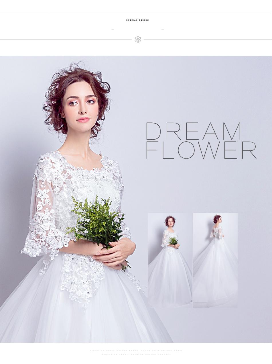 Angel Wedding Dress Marriage Bride Bridal Gown Vestido De Noiva 2017 Boat Neck horn sleeve, big tail 6910 5