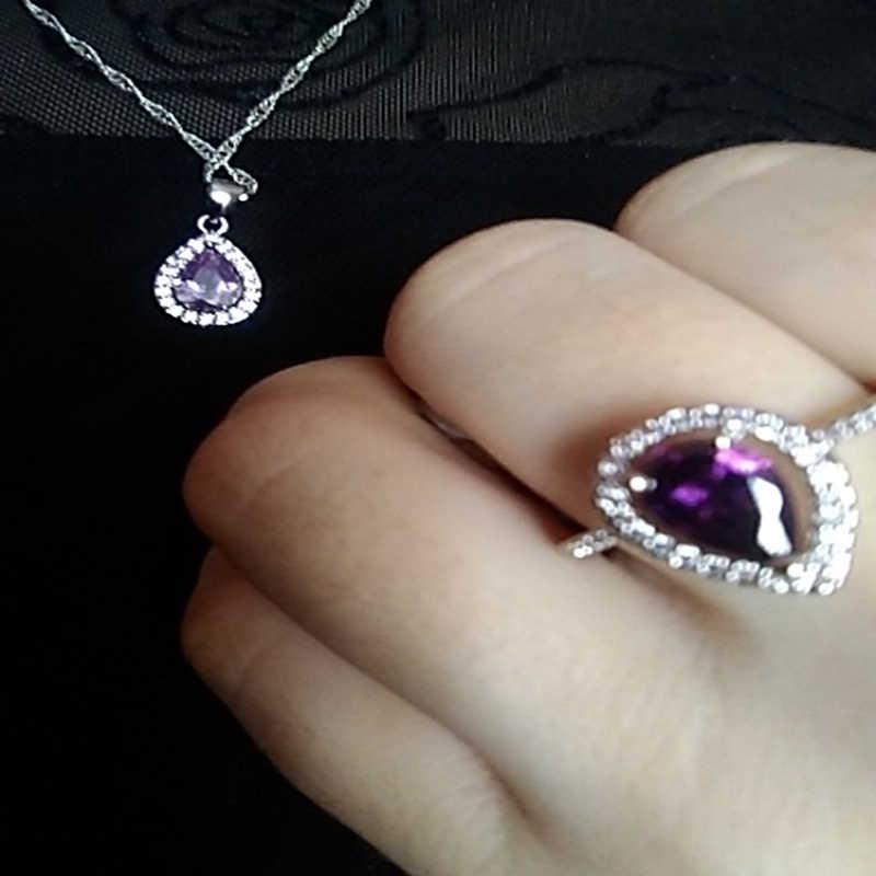 Luksusowy romantyczny naszyjnik kolczyki komplety biżuterii upuść kształt wisiorek 925 srebro cz weselne wesele biżuteria