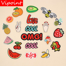 VIPOINT embroidery letter bee patches fruits badges applique for clothing XW-138