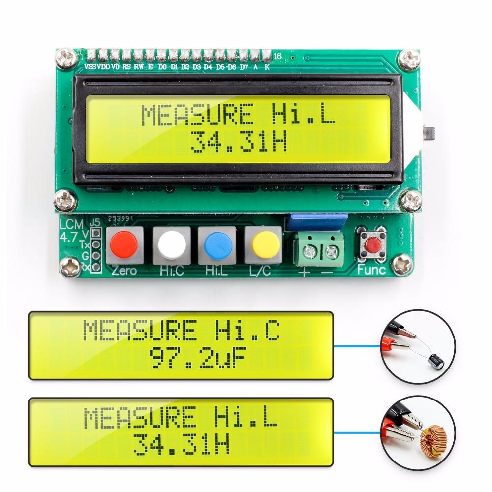 LCD Digital medidor de capacitancia inductancia TESTER LC meter frecuencia 1pF-100mF 1uH-100H LC100-A + clip de prueba