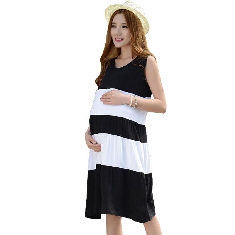 4XL Modal Loose Maternity Nursing Dresses Breastfeeding Clothes For Pregnant Women Sleeveless Feeding Vest Dresses Pregnancy