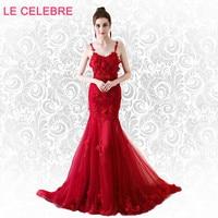 LE CELEBRE Rose flower red evening dress princess red trumpet flower evening dress party flower red mermaid evening dress