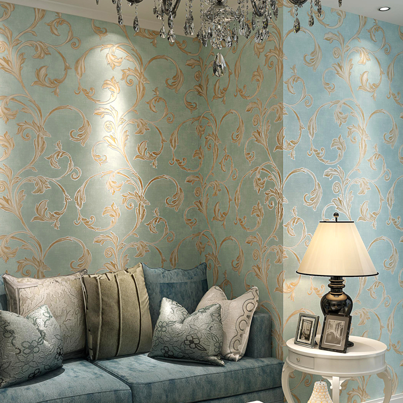 European Style Retro Flowers Pure Paper Wallpaper Living Room Bedroom Hotel Luxury Interior Decor Photo Wallpapers 3D Home Decor blue earth cosmic sky zenith living room ceiling murals 3d wallpaper the living room bedroom study paper 3d wallpaper