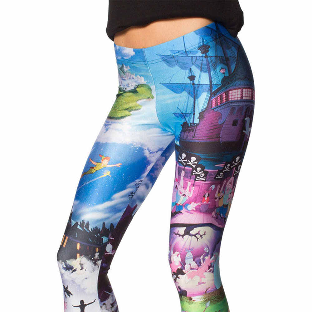2d694483dd49e ... 3512 Girl Cartoon Peter Pan Printed Elastic Slim GYM Fitness Women  Sport Leggings Yoga Pants Trousers ...