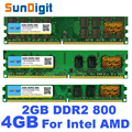 SunDigit New Sealed DDR2 800 MHz PC2-6400 4GB 2GB Desktop RAM Memory DIMM Compatible with DDR 2 667MHz For Intel AMD Motherboard