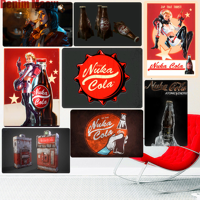 Nuka Cola Retro Metal Signs Bar Pub Decorative Plate Fallout Wall Stickers Game Lovers Art Tin Painting Vintage Home Decor N258 signs