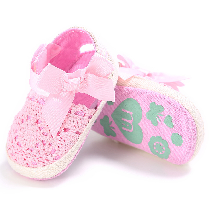 Anti-Slip Knitted Baby First Walkers Shoes Toddler Crocheted Baby Girls Shoes 0-18 M