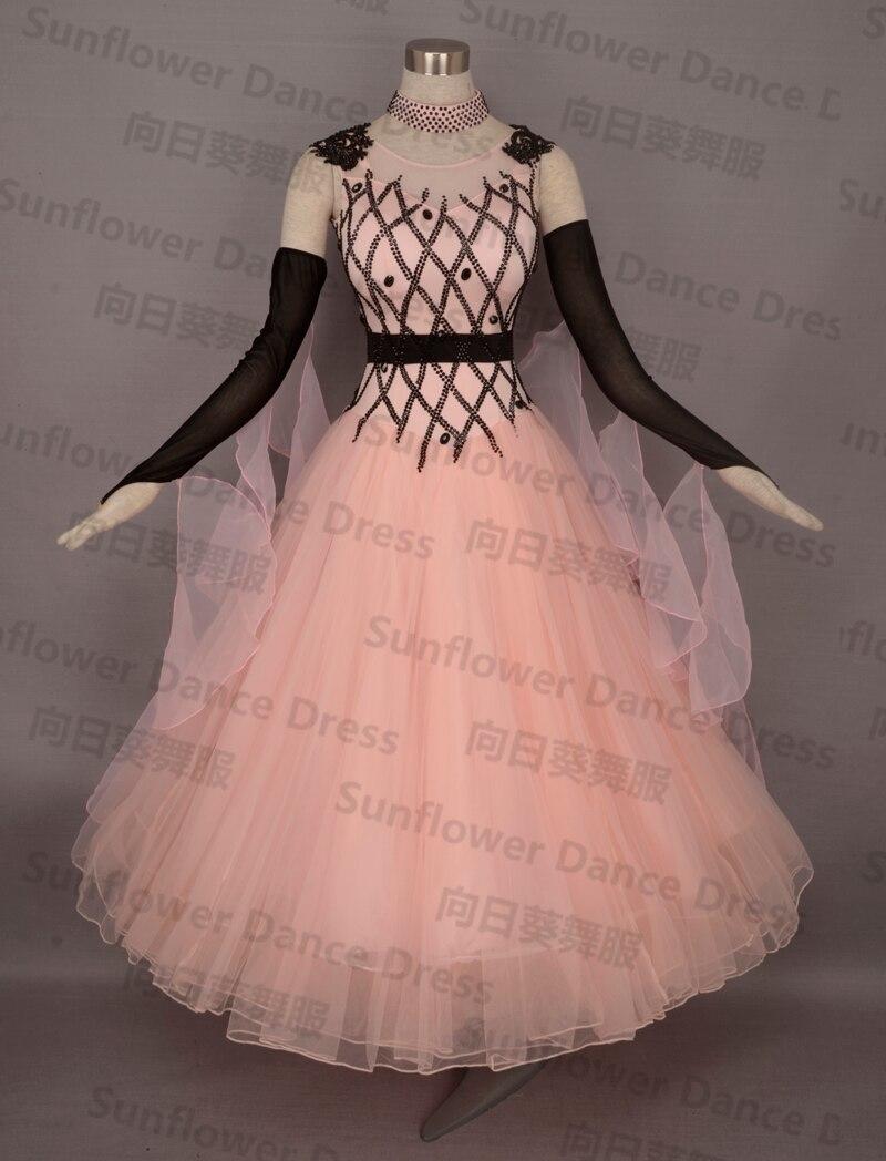 Jaunā stila balles standarta deju kleita, valša konkursa kleita, sievietes, balles deju kleita, rozā krāsā