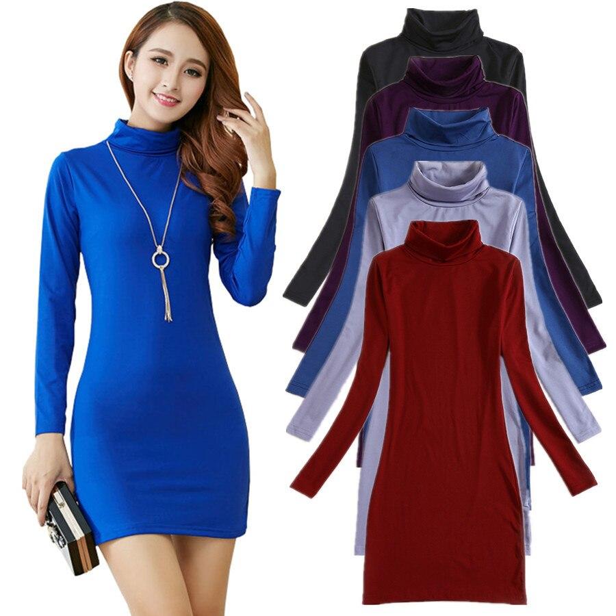 New Winter T Shirt Women Long Sleeve Tops Fashion Camisetas Elastic Poleras Mujer Turtleneck T-shirt Long Basic T-shirts Tunics