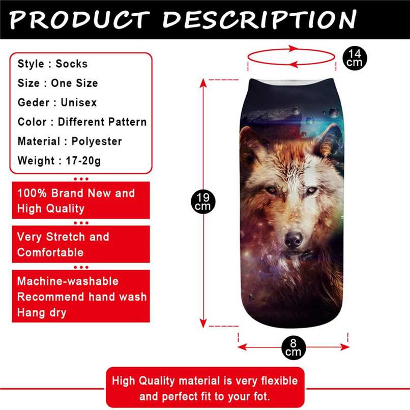 Sports Socks men women Cute Casual Work Business Cotton Socks 3D Wolf Head Print Medium happy socks #2S29 (11)