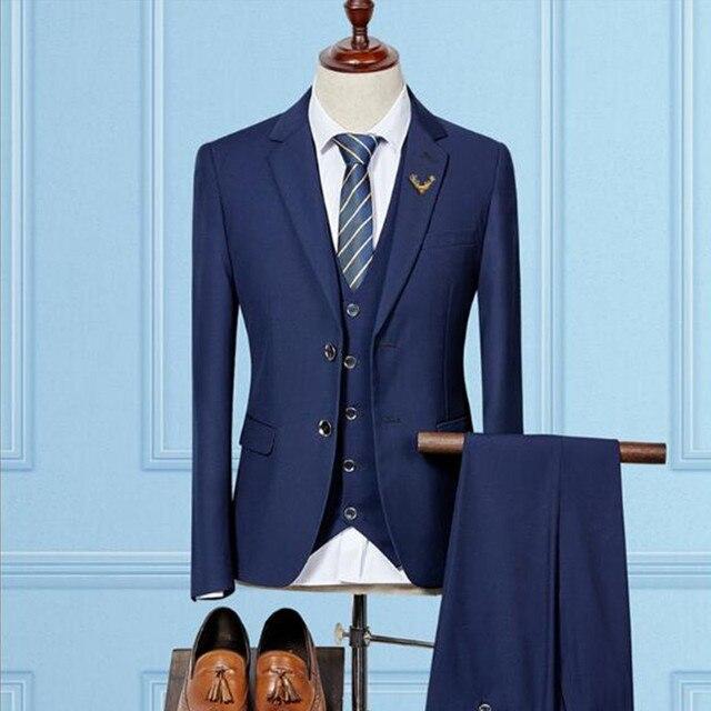2018 New Navy Blue Men Suit Groom Tuxedo Men Suits for Wedding ...