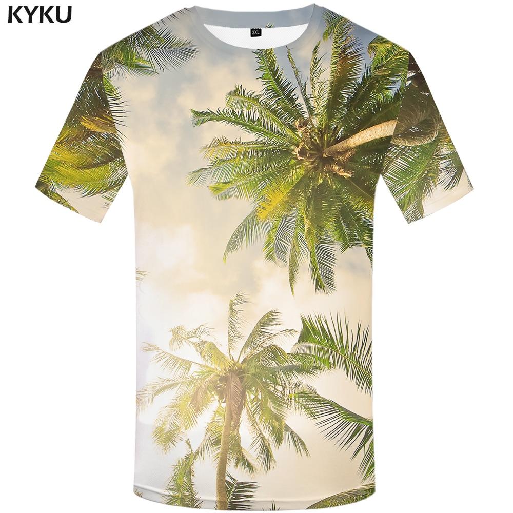 KYKU מותג קוקוס עצים T חולצה אור שמש - בגדי גברים