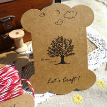 50pcs Tree and Bird Patterns Thickening Kraft Cardboard Blank Bobbine DIY Craft Paper Card Spool Big Size Gift Tag(China)