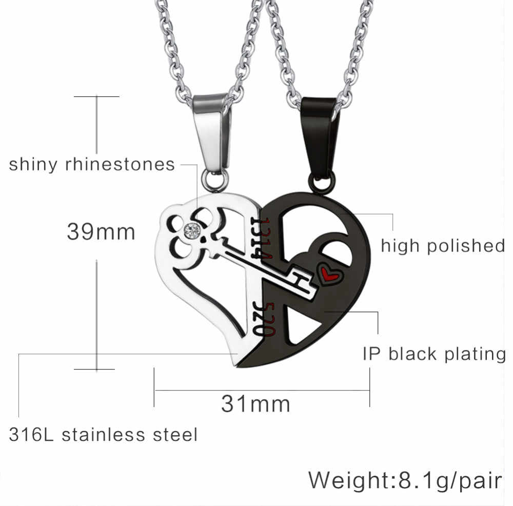 48cb82b132 ... Titanium Stainless Steel Heart Shape Puzzle Love 1314 Key Couple Pendant  Engagement Necklace for Lovers ...
