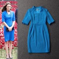 Mismo estilo princesa Kate oscuro azul elegancia vestido de algodón ajustado china últimos diseños de vestir 2015 Primavera Kate Middleton vestido