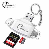 Leitor de cartão sd de memória sd micro adaptador carte sd tipo c otg memória cardreader para iphone adaptador samsung macbook