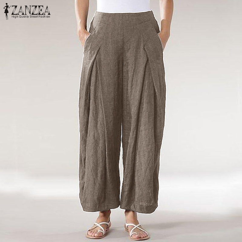 ZANZEA 2019 Summer Kaftan   Wide     Leg     Pants   Women's Trousers Casual Pleated Long Pantalon Palazzo Woman Elastic Waist Turnip   Pants