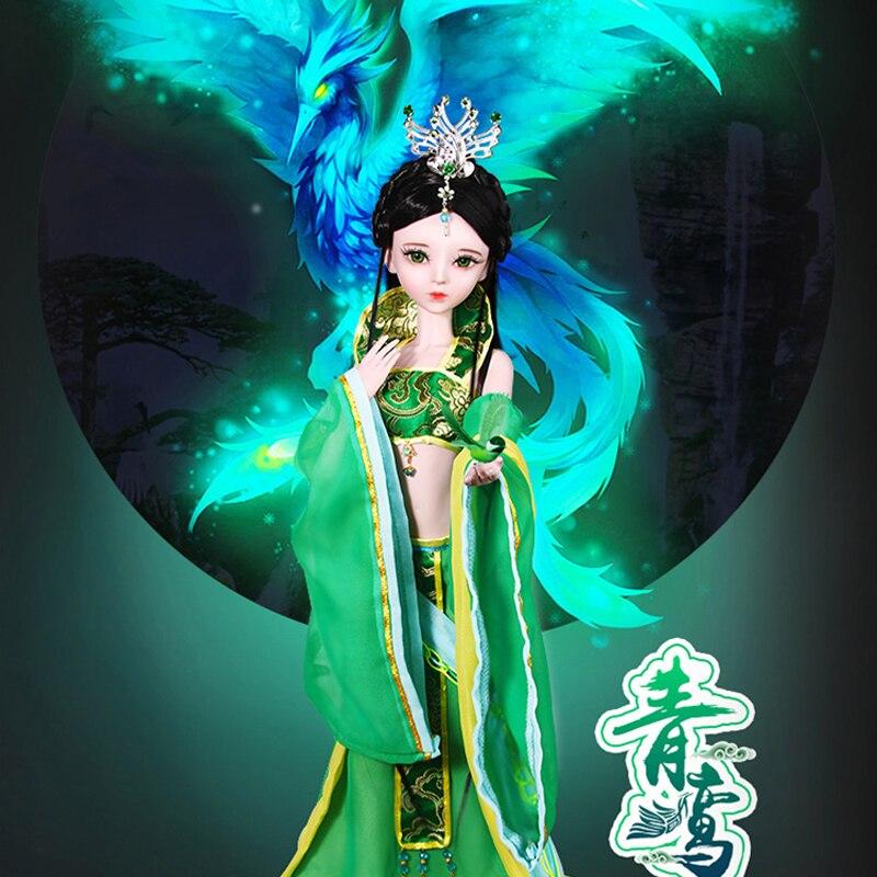 Bjd 1/3 poupée chinoise robe verte fée fait à la main beauté 23 Jointed vraies poupées enfants jouets pour filles anniversaire cadeau de noël