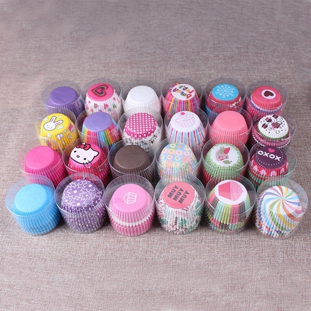 100pcs/Lot Rainbow Color Paper Cupcake Mold Muffin Cupcake Paper Cups Tray Baking Cupcake Mold Decorating Tools Pastry Bakeware