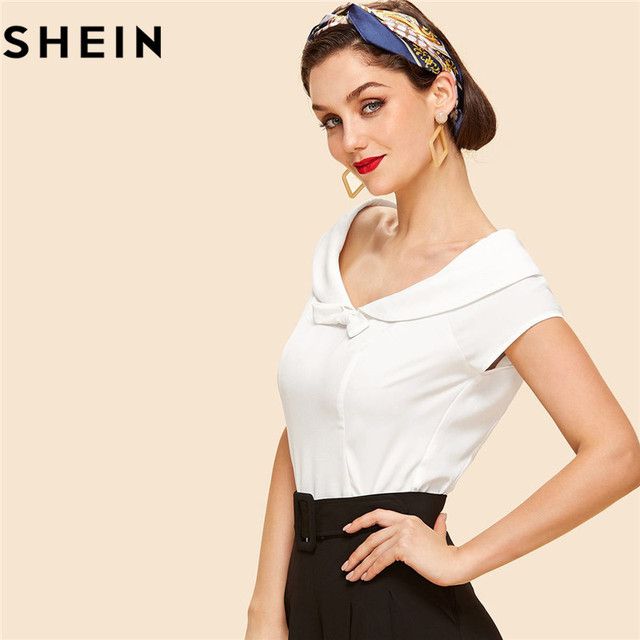 e3587803cf2d2b SHEIN Beige Short Sleeve Slim Fit Vintage Summer Womens Tops And Blouses  2018 New Retro Shawl Collar With Bow Solid Top Clothing