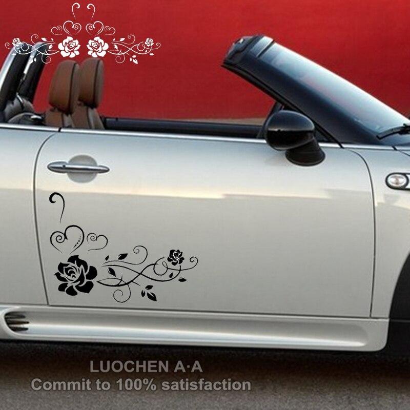 Auto Aufkleber 2pcs Schöne Blumen Rose Kreative Aufkleber Für Türen Auto Tuning Styling Vinyls 30x24cm 50x40cm D22