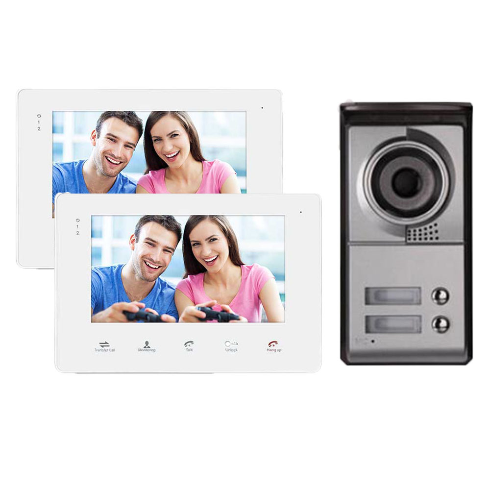 Homefong 7 inch Video Intercom Doorbell Camera System Video Door Phone Outdoor camera with 2 button for Apartment