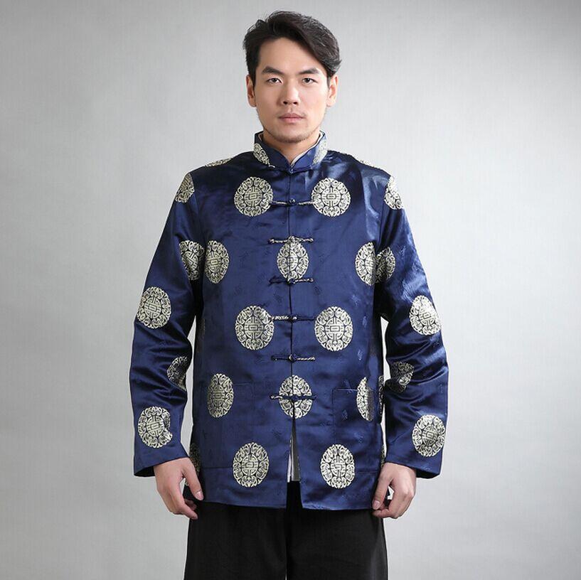 Schwarz Mens Silk Satin Jacke langarm Mantel Klassischen Chinesischen Stil Tang Kleidung hombre chaqueta Größe M L XL XXL XXXL Mim21C