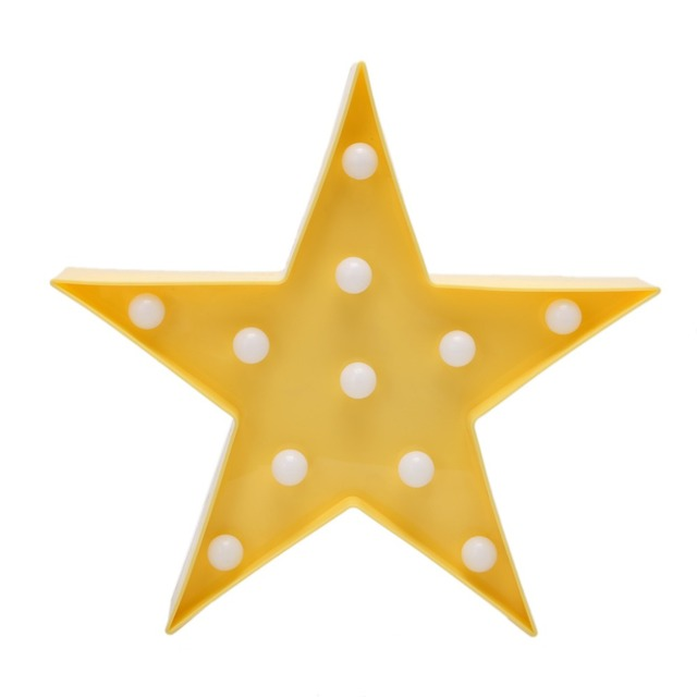 3D Marquee Lamp With 11 LED Battery Operated Yellow Star Night Light Warm White Indoor Lighting