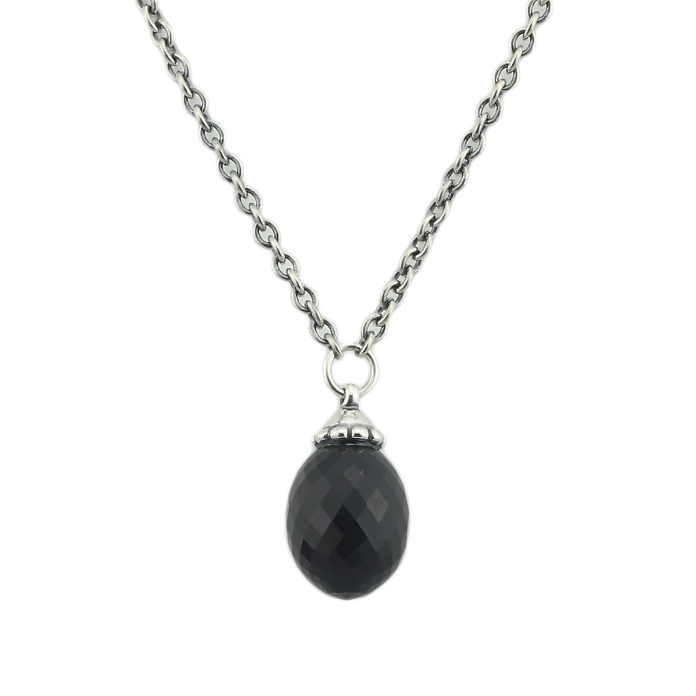 Black Pendant Necklace Of Onyx Stones Fit Troll European Charms 925 Sterling Silver Beads DIY Jewelry Gift For Woman