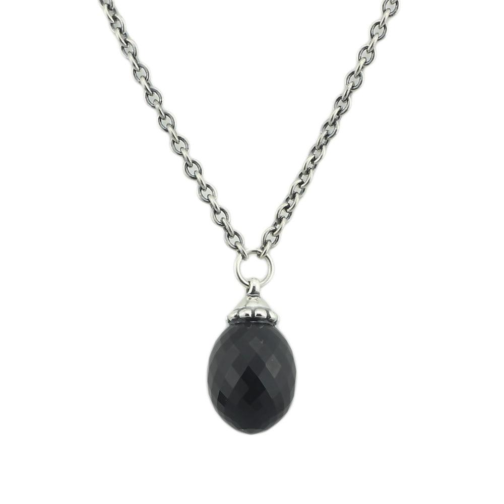 Noir Pendentif Collier De Onyx Pierres Fit Troll Européenne Charmes 925 En Argent Sterling Perles DIY Bijoux Cadeau Pour Femme