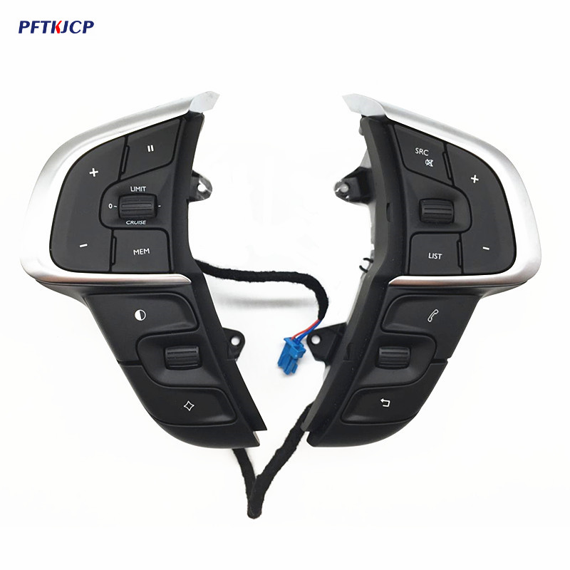 For Citroen C4 Car Multifunction Steering Wheel Buttons Cruise Control Switch Bluetooth Volume Buttons 2pcs/set цена