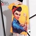2016 Nuevo de Las Mujeres Más El Tamaño de Verano Larga Top Tees Amarillo Boho Hippie Hipster Camiseta de Manga larga Del O-cuello de Impresión de Dibujos Animados harajuku 1572