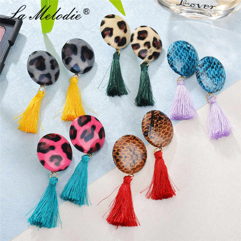 New Design Round Leopard Print Drop Earring For Females Girl Red Yellow Purple Green Color Long Tassel Dangle Earrings For Women