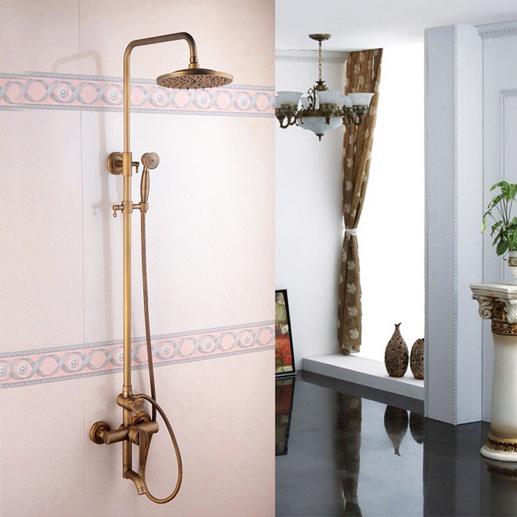 L16187 Luxury Exposed Wall Mounted Bronze Color Brass Rainfall Shower Rail Bar