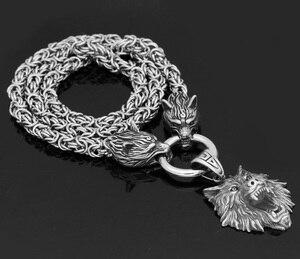 Image 5 - Nórdico viking odin lobo com cabeça de lobo geri e freki colar de aço inoxidável para homem rei corrente com saco de presente valknut