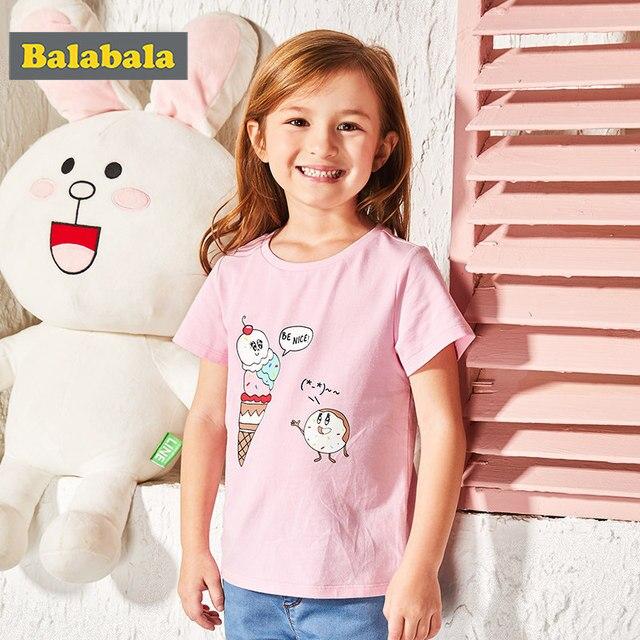 Balabala 2018 summer Children's clothing girls tshirt enfant cute T-shirt toddler fashion half Sleeve T-shirt cartoon printed