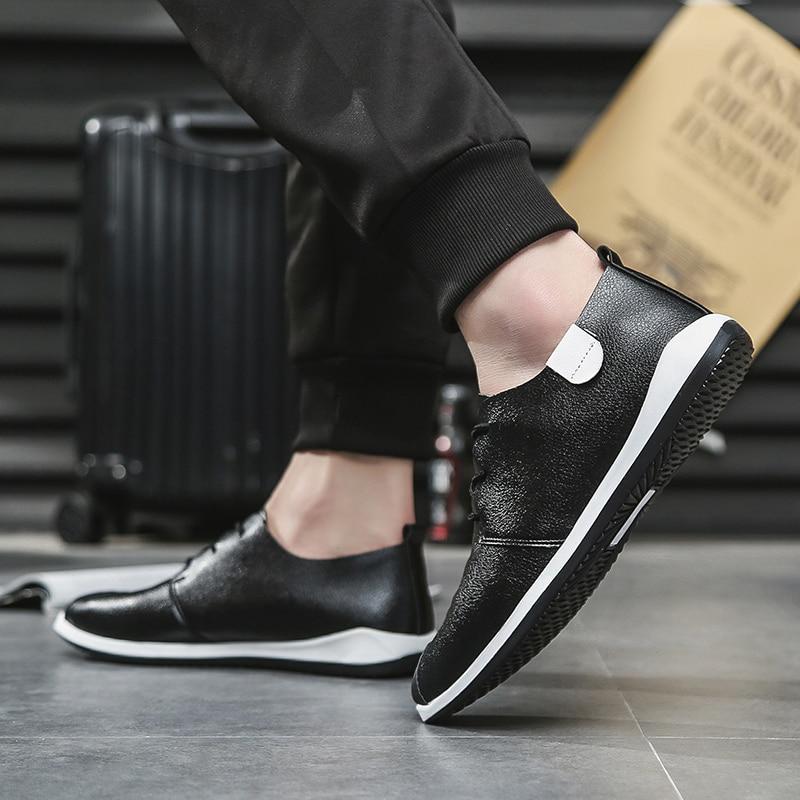 064 Xx Planos 2018 De Cuero Los resistencia Primavera naranja Genuino Nuevo Antideslizantes blanco Zapatos Negro Encaje Ropa Moda Casuales Hombres Ectic 4Txzaqcwad