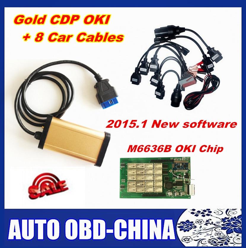 Цена за 2015.1 Программное обеспечение золото TCS CDP OKI (M6636B OKI чип) CDP PRO с Bluetooth для автомобилей и грузовиков + полный 8 Авто Кабели OBD2 диагностический