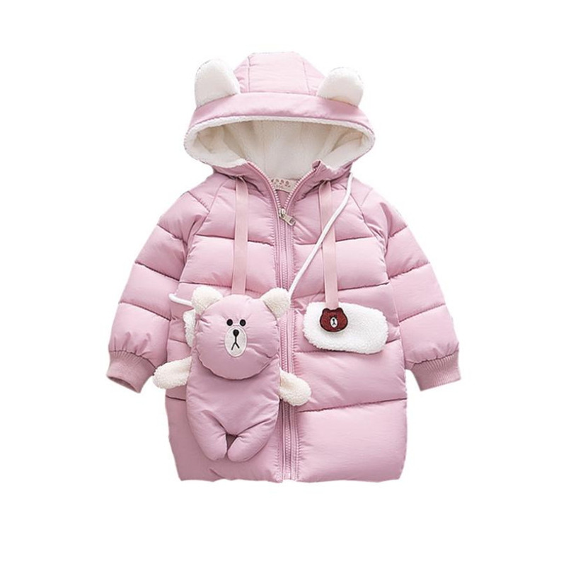 DFXD Korean Children Girls Long Soild Cartoon Bear Hooded Zipper Warm Winter Outwear High Quality Kids Girls Cotton Padded Coat good 2017 winter fashion long coat slim thickened turtleneck warm jacket hooded cotton padded zipper plus size outwear casacos