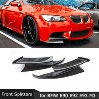 Carbon Fiber Car Front lip Splitters Flaps Aprons Cupwings For BMW 3 Series E90 E92 E93 M3 2007 2013 FRP Bumper Guard