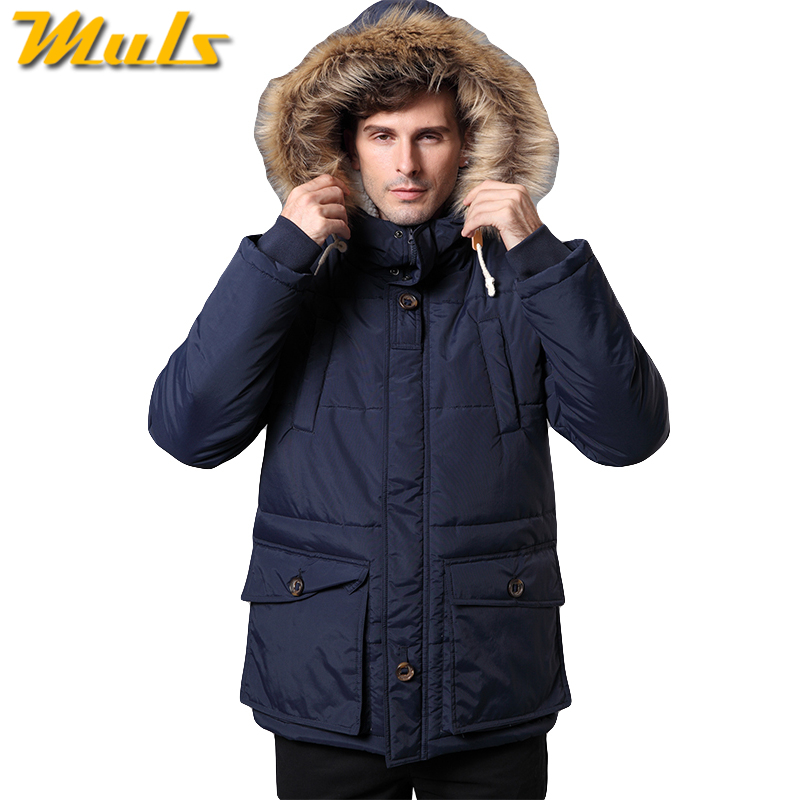 6Colors Winter jacket men cold degree thick fur hooded ...