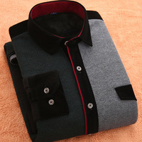 2018 Winter warm men's shirts slim new warm casual shirt thickening long sleeved fashion double color stitching business shirt
