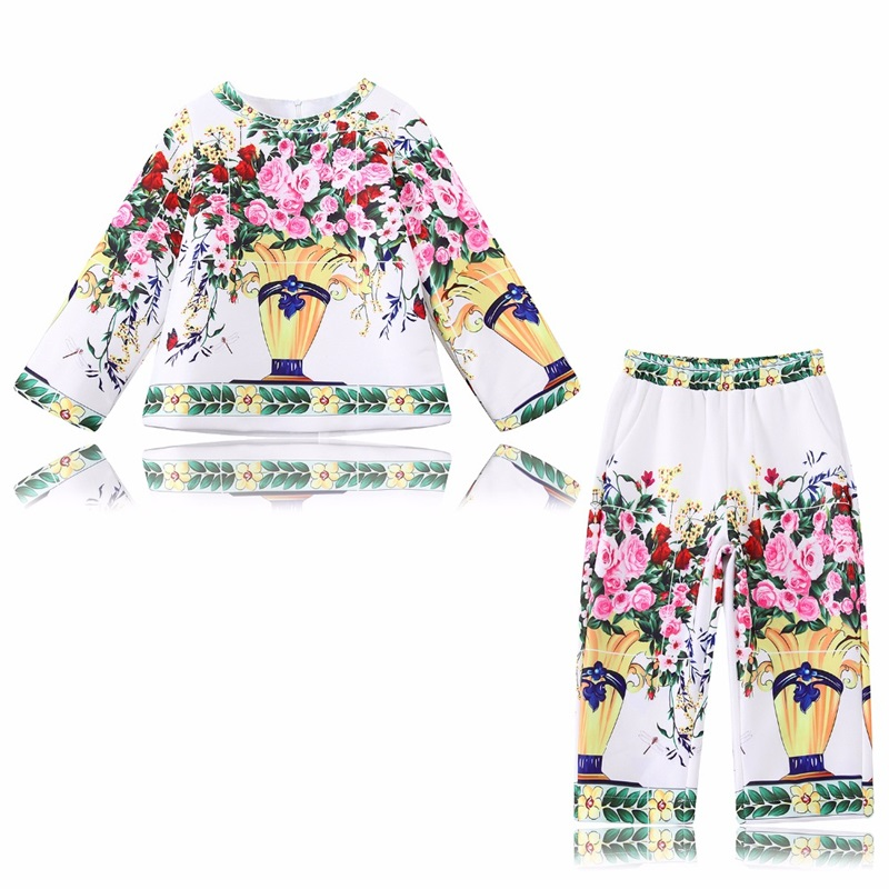 Girls Clothes Sets Christmas Outfits 2017 Brand Floral Kids Tracksuit for Girls Autumn Clothing Children Sets Sweatshirts+Pants children clothing set kids girl clothes 2016 girls sets brand floral dobby kids tracksuit jacket dress girls clothing sets